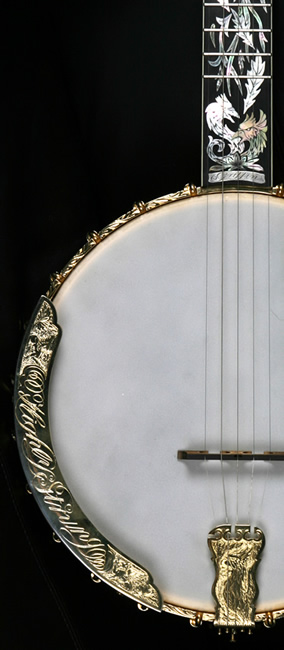 armrest and tailpiece detail paradise banjo by griffin banjos
